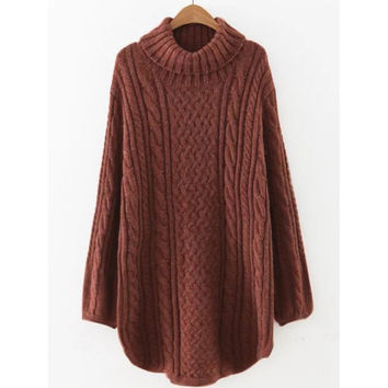 Turtleneck Long Cable Knit Pullover Sweater