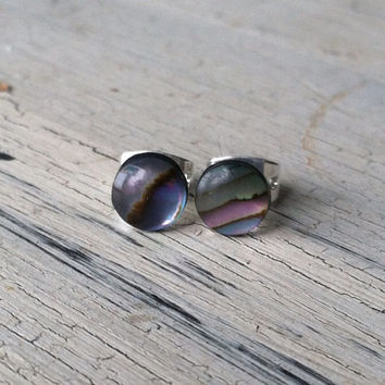 Abalone Stud Earrings - Gemstone Stud Earrings - SilverTone Stud Earrings, Abalone Shell Post Earrings