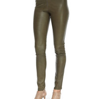 Alice + Olivia Lamb Leather Front-Zip Leggings, Forest Green