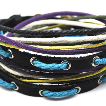 wrap leather bracelet, ropes bracelet, women leather bracelet,men leather bracelet,graduation gift, friendship gift  D0321