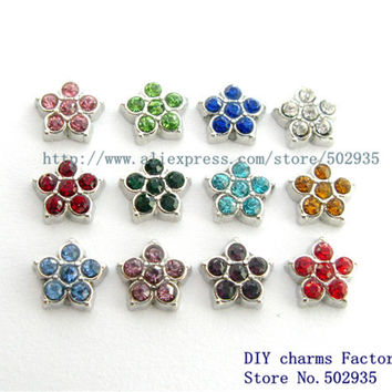 FC997 Flower 10pcs floating locket charm for  Floating locket