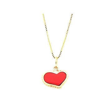 """Coral Heart Pendant Necklace in Vermeil, 16"""""""