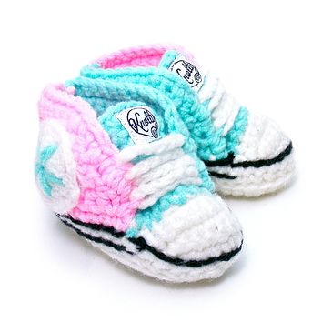 Crochet Baby Booty Pink & Aqua Slippers Sneakers Chuck Taylors