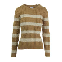 Charter Club Womens Petites Cable Knit Striped Pullover Sweater