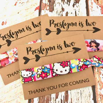 Birthday Party Favors | Kids Birthday | Thank You Gift | Hair Ties Favor | Hello Kitty | Princess | Cupcake