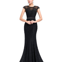 Elegant Sheer Cap Sleeve Long Evening Dress Party Women Lace Mermaid Evening Gowns Bodycon Slim Ladies Formal Dresses