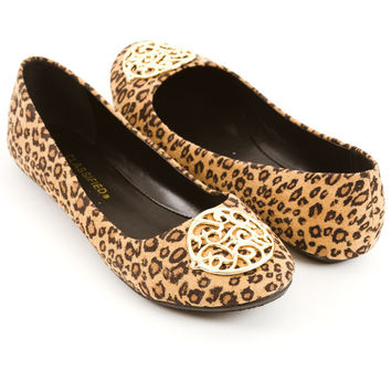 Leopard Print Flat- Cheetah Print Shoes- Tan Flats- Gold Buckle Shoes- Brown Flat- Brown Suede Flats Womens Shoes - High Heels - Flats - Womens Boots - Womens Sandals - Wedges from For Elyse