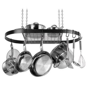 Oval Hanging Pot Rack by Range Kleen in Black