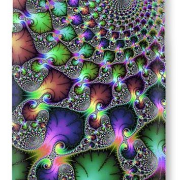 Fractal Floral Spirals Jewel Colored Green Purple Gold IPhone 7 Case