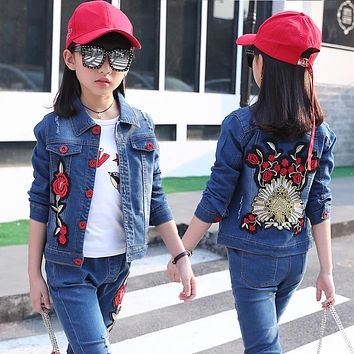 New Girls Fashion Denim Jacket Spring Kids Casual Jeans Coat Children Quality Casual Outwear
