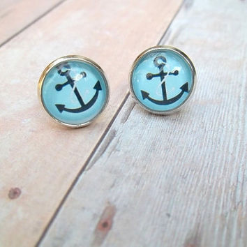 A N C H O R  Turquoise Blue and Black Anchor by handmadebyfirefli