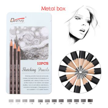 12 Drawing Pencils in Metal Box