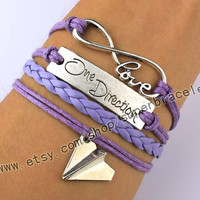 Infinity Wish, One direction, Paper Airplane Charm Bracelet, Light Purple, Customize, Best Friend, Friendship, graduation gift