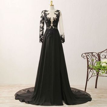 Long Sleeve Chiffon Lace Special Occasion Formal Dresses Elegant Women  Dresses