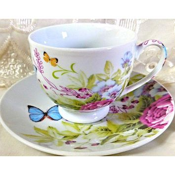 Springtime Butterflies and Roses Porcelain Teacups Set of 6 $5.95 Flat Rate Shipping or Add 1 More Set for FREE Shipping!