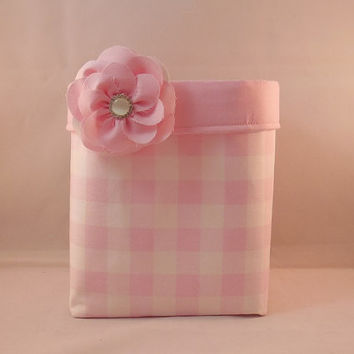 Pink and White Gingham Fabric Basket With Pink Liner and Detachable Fabric Flower Pin