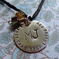 MJ I Just Can't Stop Loving You Handstamped Necklace Michael Jackson Fan Tribute
