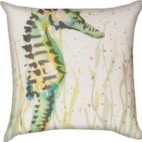 Manual Woodworkers & Weavers Climaweave Painted Seahorse Indoor/Outdoor 18-in Square Decorative Throw Pillow