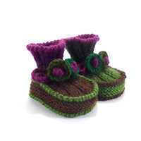 Hand Knitted Baby Booties - Green and Violet, 3 - 6 months