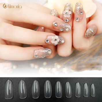 500pcs/bag Oval False Nail Tips Clear/ Natural Full Cover Fake Nails ABS Artificial Plastic Nail Art Tips Manicure Beauty Tools