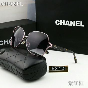 Chanel Fashion Women Men Elegant Summer Sun Shades Eyeglasses Glasses Sunglasses(5-Color) Pink Purple Frame I-M-ASML