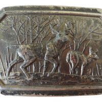 vintage BeLT BuCKLE Deer family 686 brass bambi