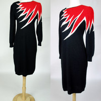 1980s sweater dress, fire flame color block long sleeve acrylic wool fuzzy wiggle dress, Small