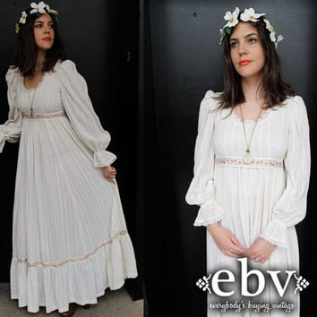 Vintage 70's Hippie Boho Maxi Wedding Dress S M