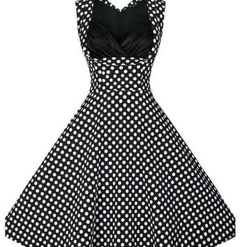 Black Polka Dot Ruched Neckline Sleeveless Tent Dress