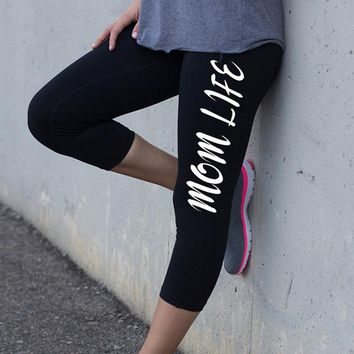 Mom life - Women Black Fitness Leggings - Workout Tights