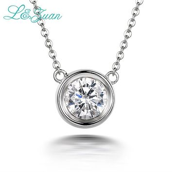 I&Zuan 925 Sterling Silver 1.4ct Diamond Pendant Necklace For Women Simple Small Round Stone Necklaces Fine Jewelry Lover's Gift