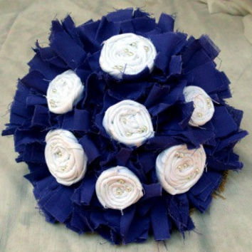 Wedding Bouquet, Rustic, Bridal, Vintage, Cotton, Fabric Flower Bouquet, Pearls, Burlap, Country, Shabby Chic 10""