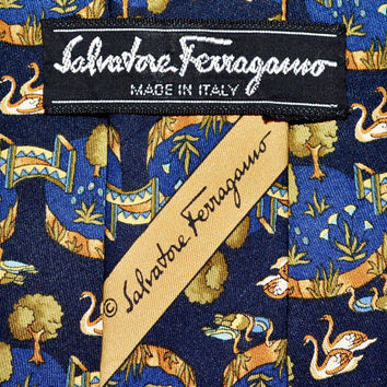 Make an Offer SALVATORE FERRAGAMO Navy Blue Swan Pond SILK Necktie Tie Like Hermes YsL Dior & Gucci Made in Italy Guaranteed Authentic