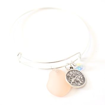 Silver Taurus Bracelet - Pink Sea Glass, Swarovski Teardrop and Antique Silver - Simple Zodiac Accessory - One Size Fits All - Zodiacharm - Clay Space