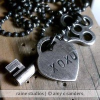 Custom Hand Stamped Heart and Key Sterling silver by rainestudios