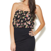 2fer Floral Tube Bodycon Dress | Wet Seal
