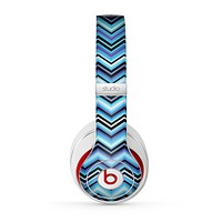 The Navy Blue Thin Lined Chevron Pattern V2 Skin for the Beats by Dre Studio (2013+ Version) Headphones