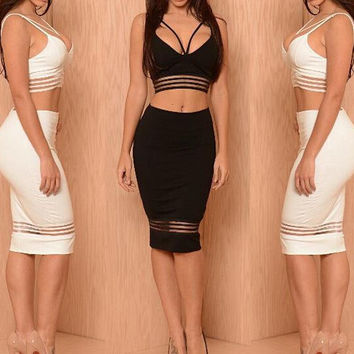 HOT TWO PIECE BLACK WHITE DRESS