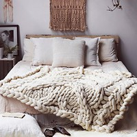 Laura Birek for Free People Womens Big Sky Cableknit Wool Blanket - Ivory One