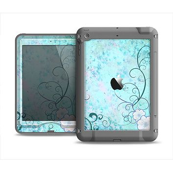 The Subtle Blue & Pink Grunge Floral Apple iPad Mini LifeProof Nuud Case Skin Set