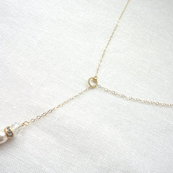 Swarovski crystal and pearl lariat necklace in gold filled chain, White pearl and crystal Y drop necklace