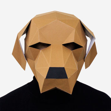 Make your own Dog Labrador Mask, Animal Head, Instant Pdf download, DIY New Year Mask, Printable Templates, 3D Polygon Masks, Printable Mask