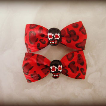 Red Leopard Cheetah Sugar Skull Haunted Hair Candy Clips