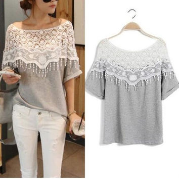 Womens Girls Hollow Crochet Lace Short Sleeve Casual Tops Blouse T Shirt Sexy(new size added) = 5978987969