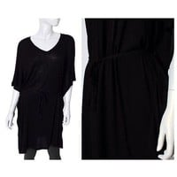Women Dolman Short Sleeve Tunic Blouson Draped Loose Mini Dress with Draw String