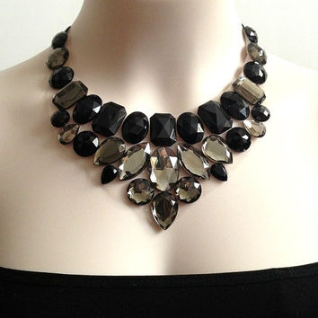 black and grey rhinestone bib necklace , bridesmaids, prom, wedding, formal event statement necklace