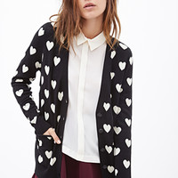 FOREVER 21 Heart Print Cardigan Black/Cream