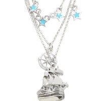 Disney Pirate Ship Compass Peter Pan 3 Layer Necklace
