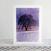 Bare Tree Under Purple Sky Photo Greeting Card, Winter Sunset, Tree Silhouette, Fine Art Photography, Nature Photography, Any Occasion Card