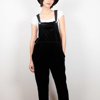Vintage 90s Overalls Black Velvet Overalls Heart Button Soft Grunge Jumpsuit 1990s Overalls Kawaii Wide Leg Pants Romper Playsuit S M Medium